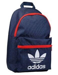 Adidas Originals Trefoil Classic Backpack, Rucksack, School /Gym Bag In Navy/Red