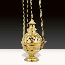 Brass Ornate Incense Round Censer Four Chains