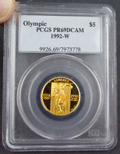1992-W OLYMPIC GOLD $5 COMMEMORATIVE COIN PR69 DEEP CAMEO PCGS GRADED 1992 W