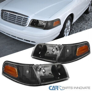 Fit 98-11 Ford Crown Victoria Black Headlights+Corner Signal Lamps Left+Right