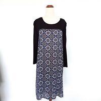 Tokito Size 14 3/4 Sleeve Black Blue Patterned Shift Lightweight Dress Women's