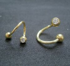 Spirale Gold Titan Piercing Ring  Kristall Bauchnabel Intim Brust Nippel Studio