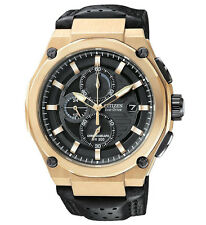Citizen Eco-Drive Gold-Tone Chronograph Black Leather Men's Watch - CA0313-07E
