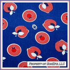 BonEful Fabric FQ Cotton VTG Antique Red White Blue RARE Cherry Apple Stripe Dot