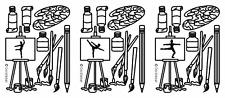 5 fogli di oro artista forniture Easel Brush Pen Pittura PEEL OFF ADESIVI Outline