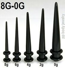 5pcs. Black Acrylic Straight Tapers 8g,  6g, 4g, 2g, 0g Ear Stretching Kit!