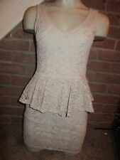 BNWT UK 10 River Island Dress Nude Silver Metallic Floral Lace Peplum