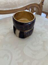 Dolce & Gabbana 2 Leather/skin Metal Bangle Bracelets Brown/gold Color Signed