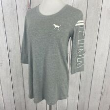 PINK Victoria Secret Size Small Womens 3/4 Sleeve Relaxed Fit T-Shirt Tee Gray