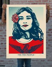 Shepard Fairey OBEY * WE THE PEOPLE * difendere la dignità * ESAURITO * FIRMATO