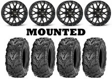 Kit 4 ITP Mud Lite II 2 Tires 25x8-12/25x10-12 on ITP Hurricane Matte Black IRS