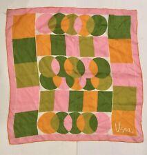 Vintage Vera Silk Scarf Green Orange Pink White Hand Rolled Silk Japan Lot