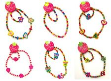 Girls Childrens Wooden Necklace and Bracelet Sets Bright Jewellery Child