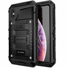 iPhone Xs Max Case Seacosmo Waterproof Full Body Protective Metal Cover Black