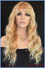 100% Heat Friendly Wig Long Straight  SLINKY BEACHY WAVE T27.613 BLONDE 1360