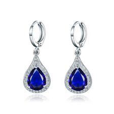 Dangle Pear Drop Blue Swarovski Crystal Silver Gold Filled Lady Party Earrings