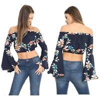 Womens Ladies Floral Print Gypsy Boho Ruched Off Shoulder Bardot Cropped Top