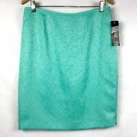 Le Suit Petite Womens Size 10P Skirt 10 Floral Embossed Lined Pencil Zip B25-14