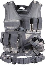 Military Police Sheriff & Law Enforcement Cross Draw Tactical Vest With Holster