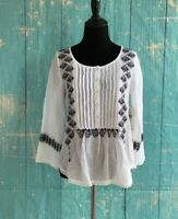Ralph Lauren Denim & Supply White Peasant Boho Embroidered Blouse Tunic $89.50