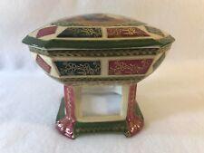 Royal Vienna Red-Green & Gold Porcelain Pedestal Trinket Box-Blue Beehive Mark
