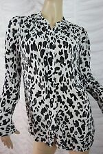 COUNTRY ROAD black white 100% silk animal print long sleeve blouse size XS GUC