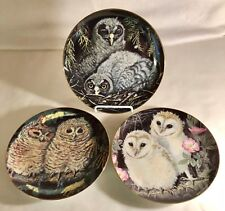 3 Danbury Mint Baby Owl Collection Plates