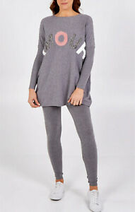 Womens Knitted Baggy 2PCS Lounge Wear Set Casual Ladies Tracksuit Bottom Top