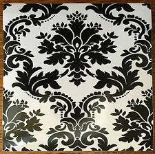 Black & White Baroque Style Wall Tiles Transfer Stickers Square Kitchen Bathroom