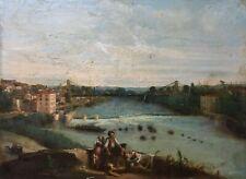 Tableau ancien signé, Huile sur toile à restaurer, Paysage fluvial animé, XIXe