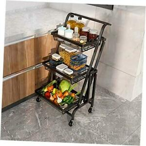 3 Tier Foldable Kitchen Cart, Rolling Utility Cart with Handle, Storage Black