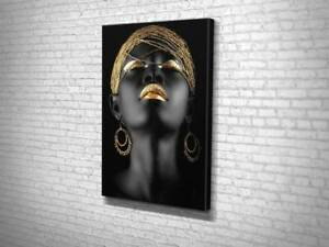 African American Woman ,Wall Art with Gold Prints, Black Canvas Painting Print