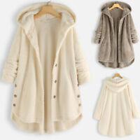Plus Size Women's Fleece Hooded Overcoat Long Sleeve Button Pocket Vintage Coat
