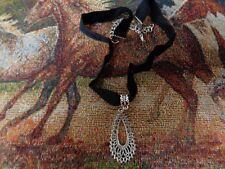 Girls String Black Necklace Choker Teardrop Silver Tone Pendant Women's Ladies