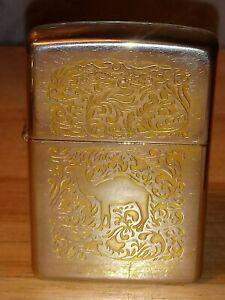 RARE 1995 ZIPPO CAMEL CIGARETTES ADVERTISING GOLD PLATED CIGARETTE LIGHTER W/BOX
