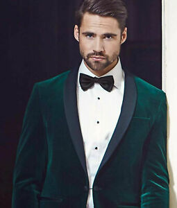 Men Green Smoking Jackets Designer Elegant Wedding Party Wear Blazer Coat UK