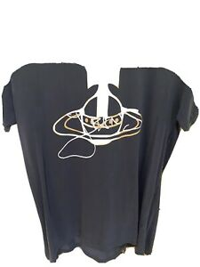 Mens Vivienne Westwood T Shirt Large Navy With Gold And White Logo