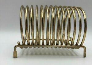 Vintage Gold Tone Brass Letter Holder Spiral Coil Desktop Card Display Organizer