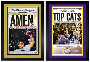 Set of 2 New Orleans Saints / LSU Tigers Champs Newspaper Photos Matted & Framed