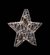 Illuminated Warm White Light Metal Wire Christmas Xmas Star Window Decoration