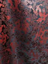 Black Red Embroidered Dragon Floral Brocade Fabric (57 in.) Sold By The Yard