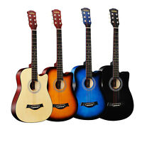 38'' Full Size Adult 6 Strings Folk Acoustic Guitar for Students Beginners Q5F8