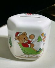 "Vintage Ceramic Christmas Baby first Bear Savings Bank Japan 1970- 3"" Euc"