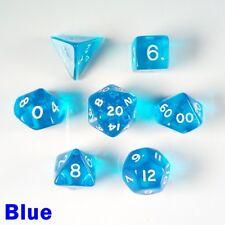 Gem Poly 7 Dice RPG Set Blue Pathfinder 5e Dungeons Dragons D&D DND Role Play