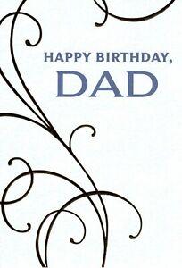 Happy Birthday Dad Large Print Gold Classic Scroll Scrollwork Hallmark Card