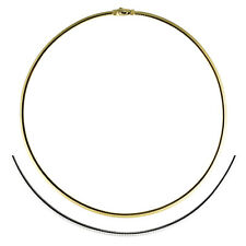 18KT 2-Tone Yellow & White Reversible Gold Omega Collar Necklace 3.1 MM NEW