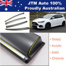 INJ Chrome Weather Shield Weathershield Window Visor For Ford Focus 2012-2017