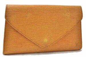 Authentic Louis Vuitton Epi Arts Deco Clutch Bag Yellow M52639 LV D9417