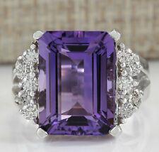 7.53 Carat Natural Amethyst 14K White Gold Diamond Ring