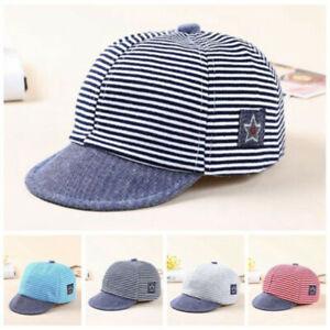 Baby Boy Hats Striped Soft Cotton Sunhat Eaves Baseball Cap Sun Hat Beret